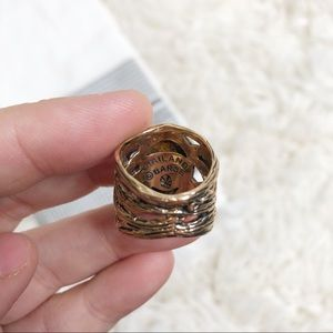 Jewelry - Gold vine brown ring